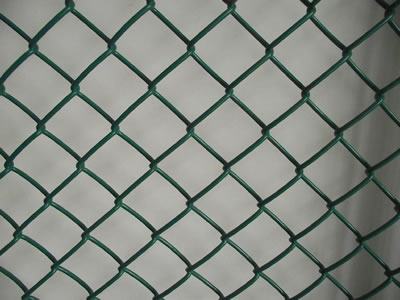 A piece of chain link fence is PVC coated, the color is green.