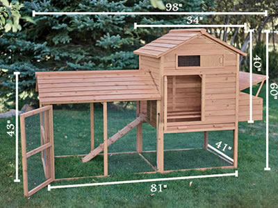 Here is a typical chicken coop standing on the lawn. With the specific states marked on it.