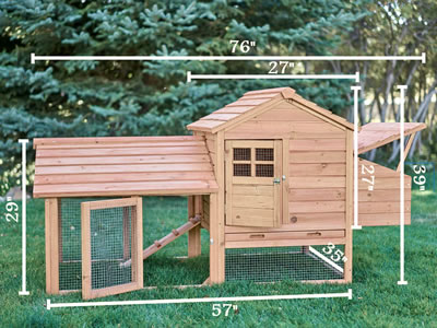 Here is a typical chicken coop stands on the lawn. With the specific states marked on it.