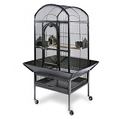 The cage designed with welded wire mesh frame, a big front door, four wheels and product related.
