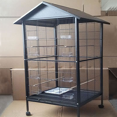 The cage equipped with gable roof, welded wire mesh, one front door, eight plastic cups and four wood perches.